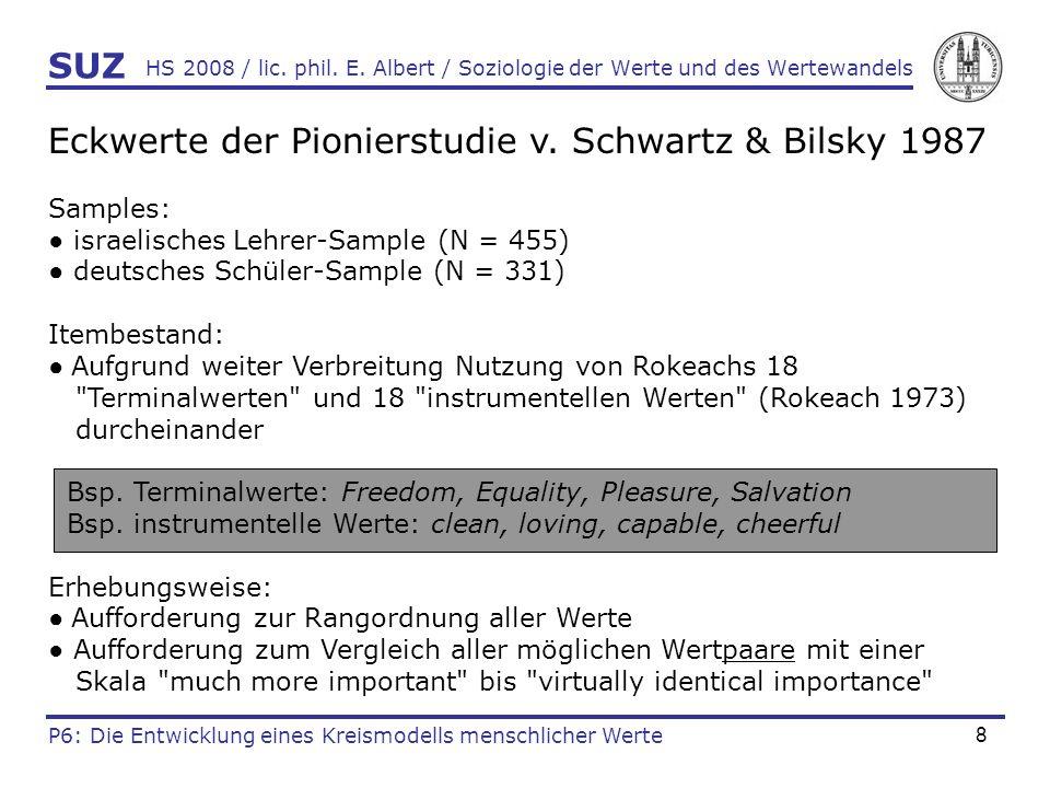 Eckwerte der Pionierstudie v. Schwartz & Bilsky 1987