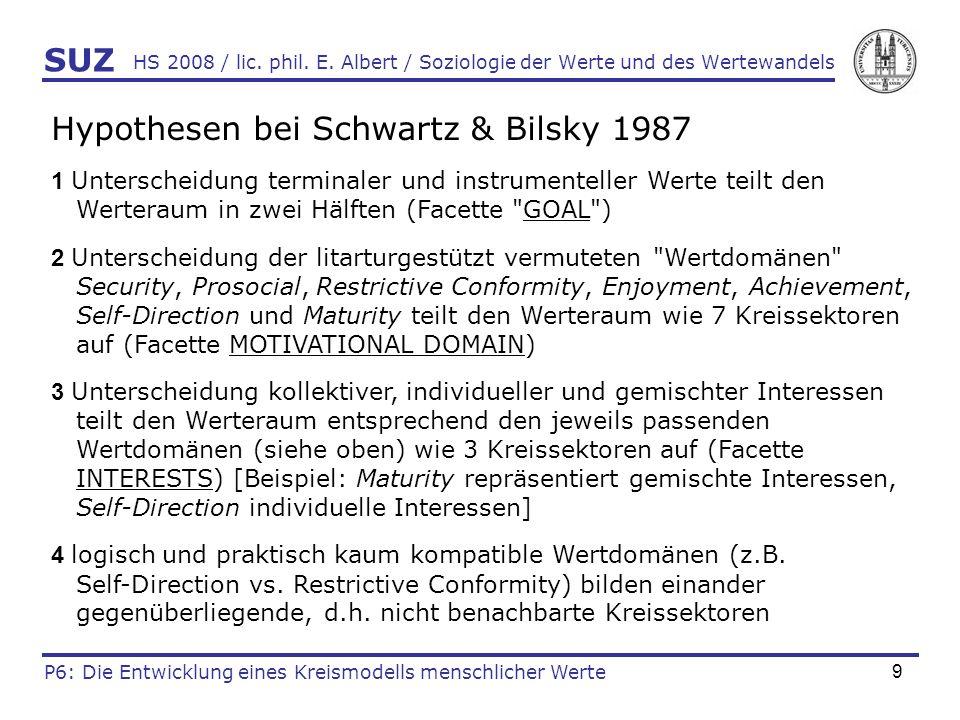 Hypothesen bei Schwartz & Bilsky 1987