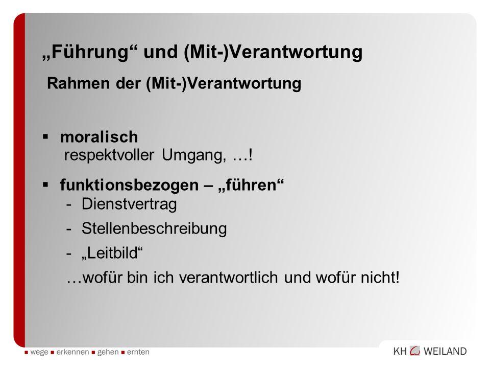 """""""Führung und (Mit-)Verantwortung Rahmen der (Mit-)Verantwortung"""