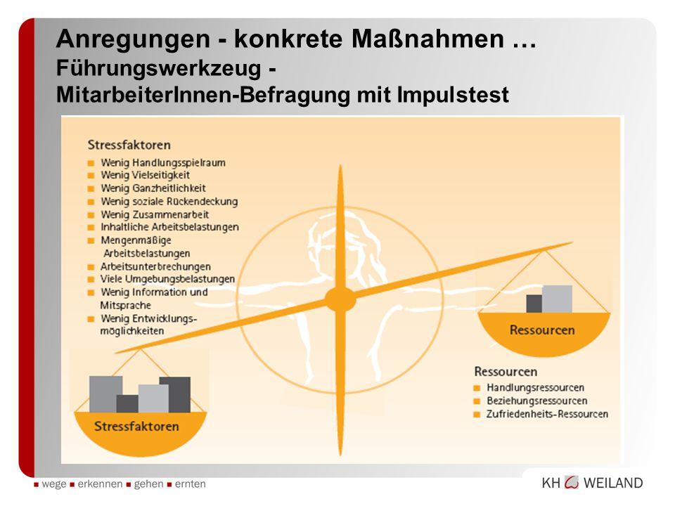 Anregungen - konkrete Maßnahmen … Führungswerkzeug - MitarbeiterInnen-Befragung mit Impulstest