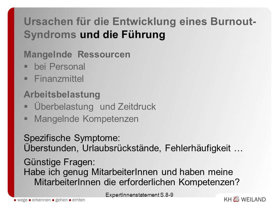 Ursachen für die Entwicklung eines Burnout-Syndroms und die Führung