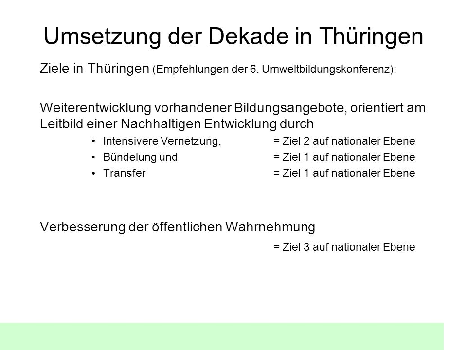 Umsetzung der Dekade in Thüringen