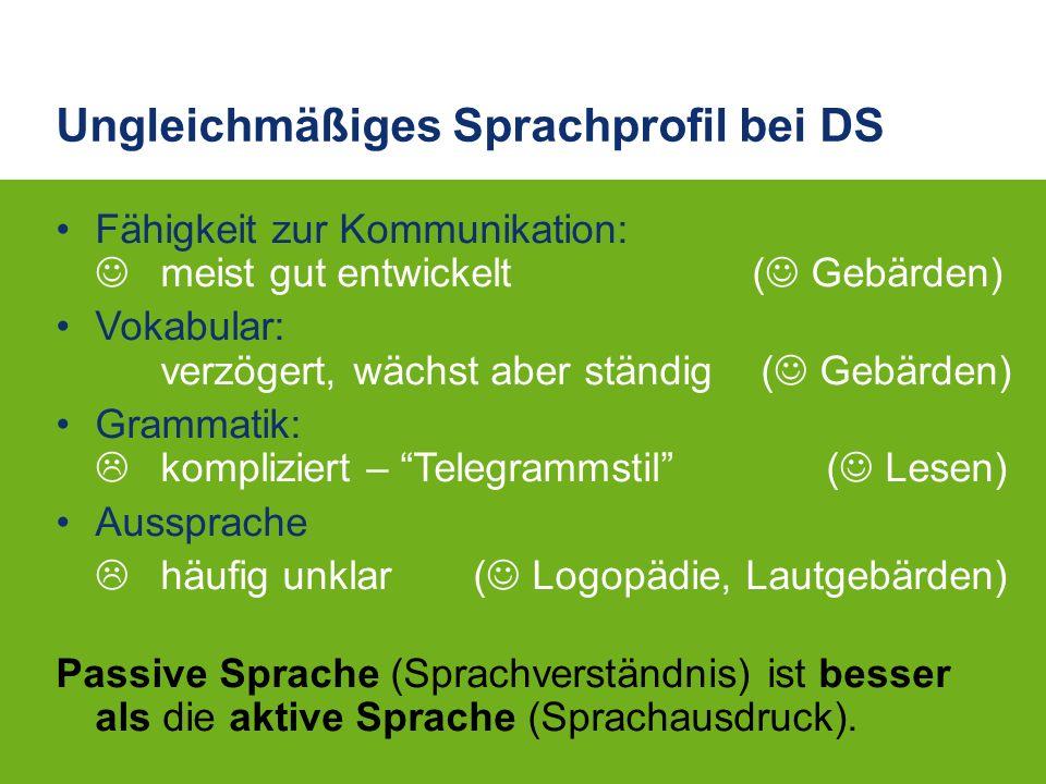 Ungleichmäßiges Sprachprofil bei DS