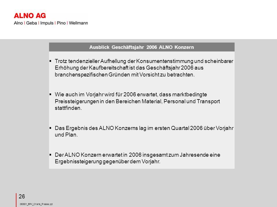 Ausblick Geschäftsjahr 2006 ALNO Konzern