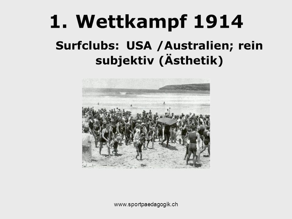 Wettkampf 1914 Surfclubs: USA /Australien; rein subjektiv (Ästhetik)