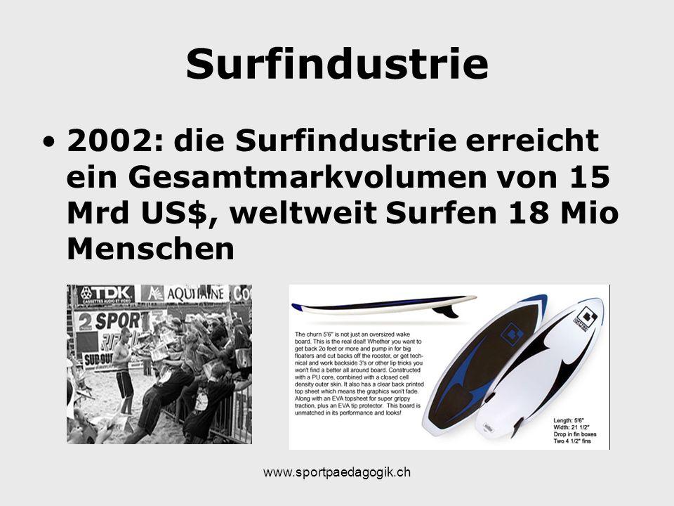 Surfindustrie 2002: die Surfindustrie erreicht ein Gesamtmarkvolumen von 15 Mrd US$, weltweit Surfen 18 Mio Menschen.