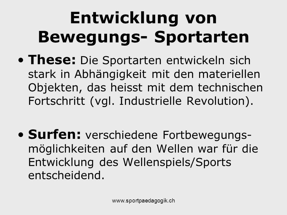 Entwicklung von Bewegungs- Sportarten