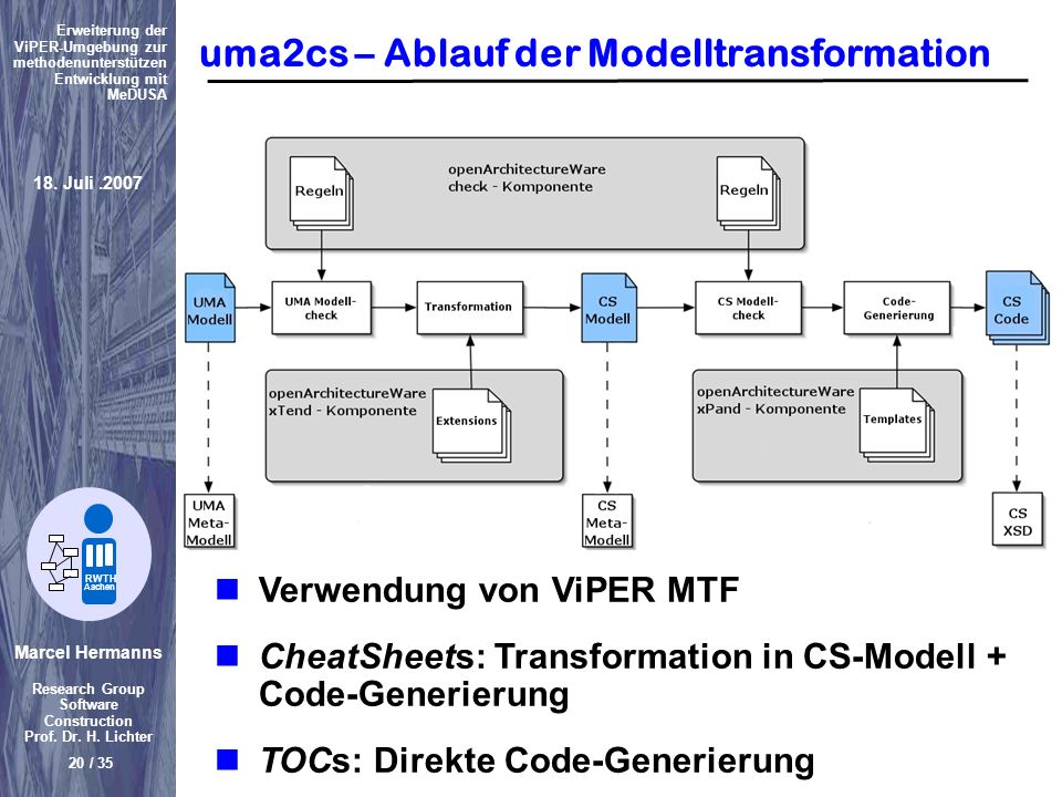uma2cs – Ablauf der Modelltransformation
