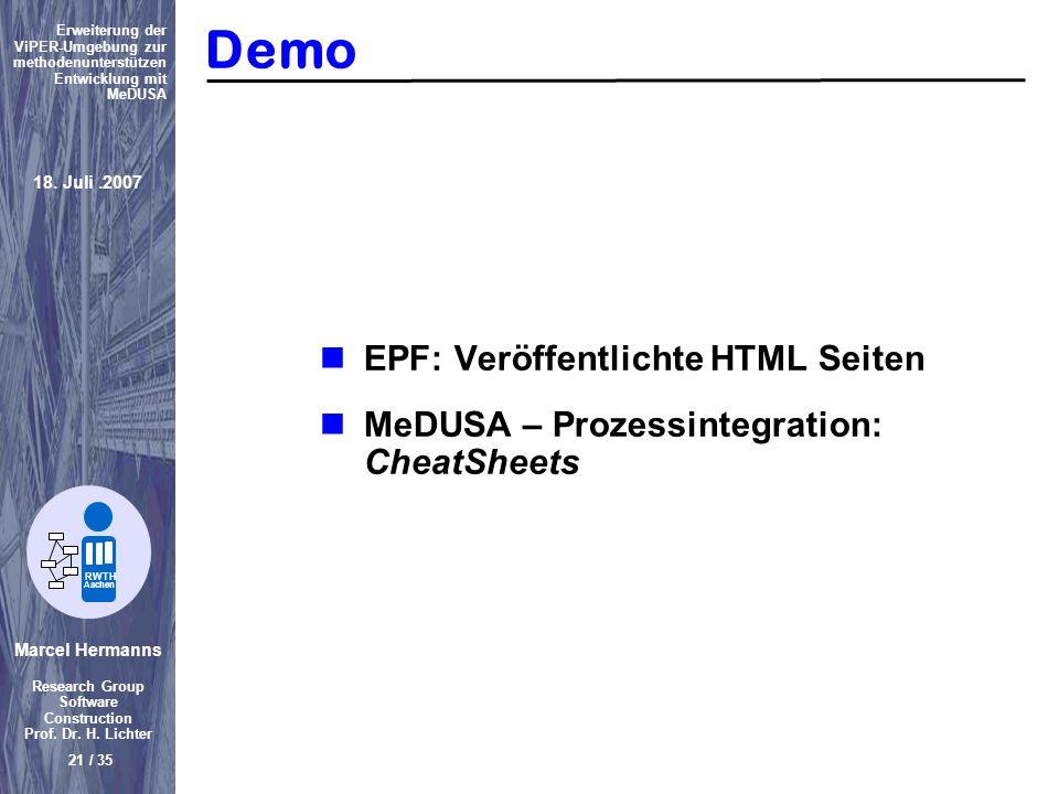 Demo EPF: Veröffentlichte HTML Seiten