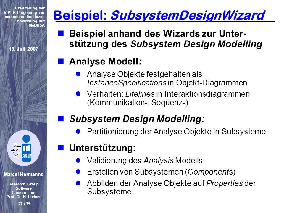 Beispiel: SubsystemDesignWizard