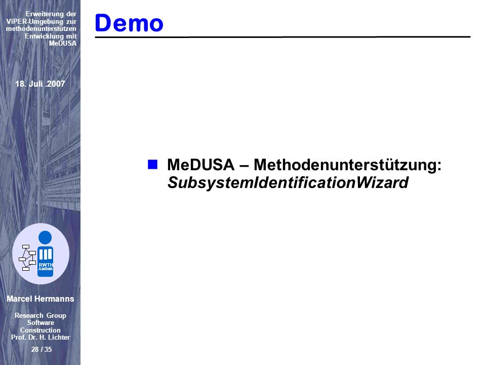 Demo MeDUSA – Methodenunterstützung: SubsystemIdentificationWizard