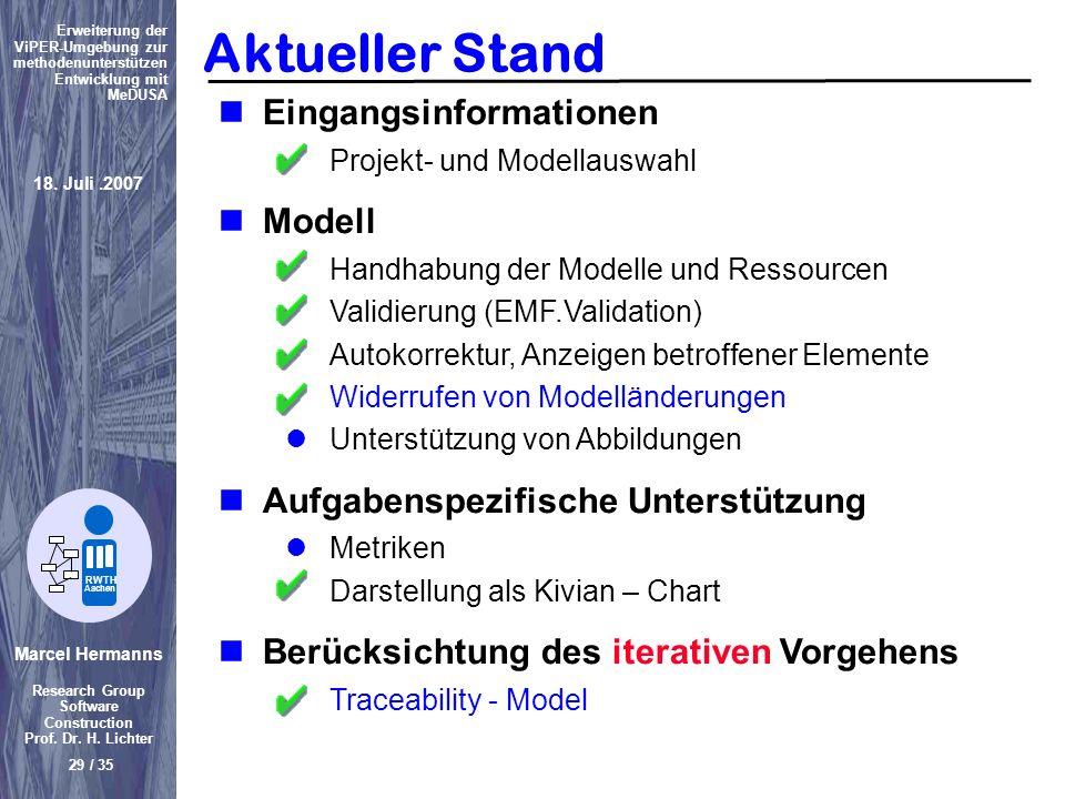 Aktueller Stand Eingangsinformationen Modell