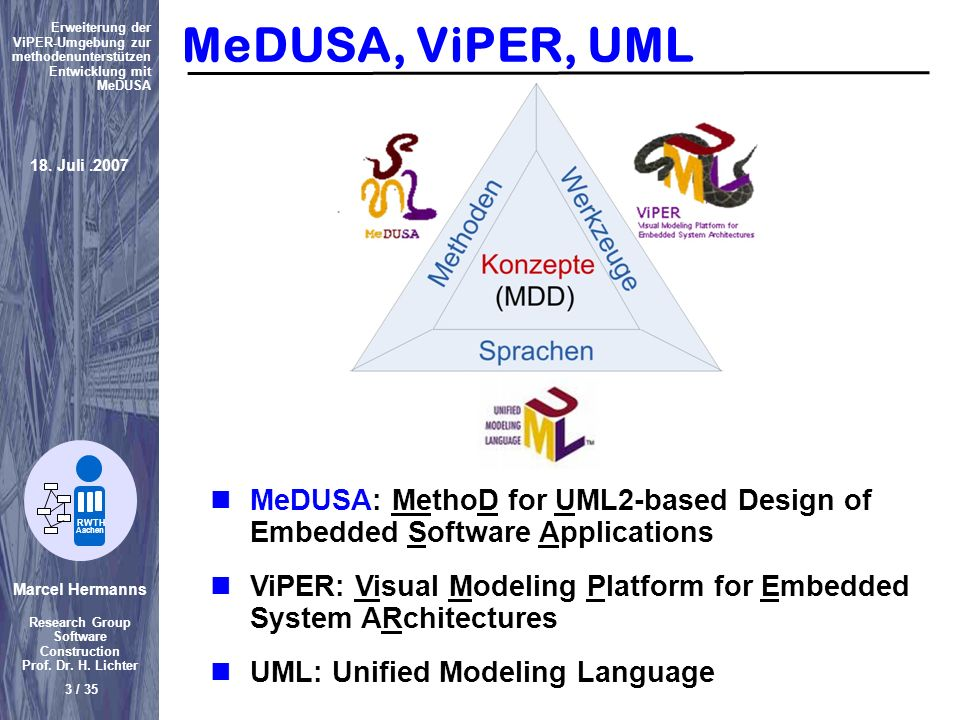 MeDUSA, ViPER, UML MeDUSA: MethoD for UML2-based Design of Embedded Software Applications.