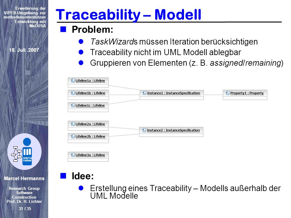 Traceability – Modell Problem: Idee: