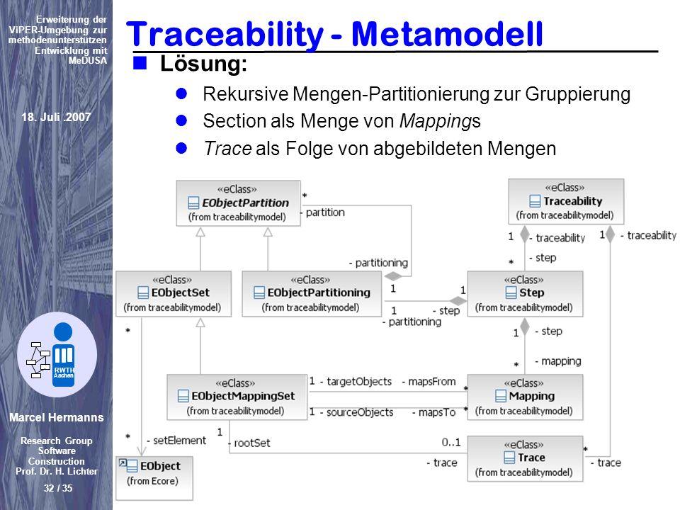 Traceability - Metamodell