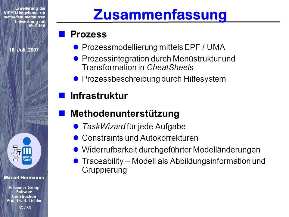 Zusammenfassung Prozess Infrastruktur Methodenunterstützung