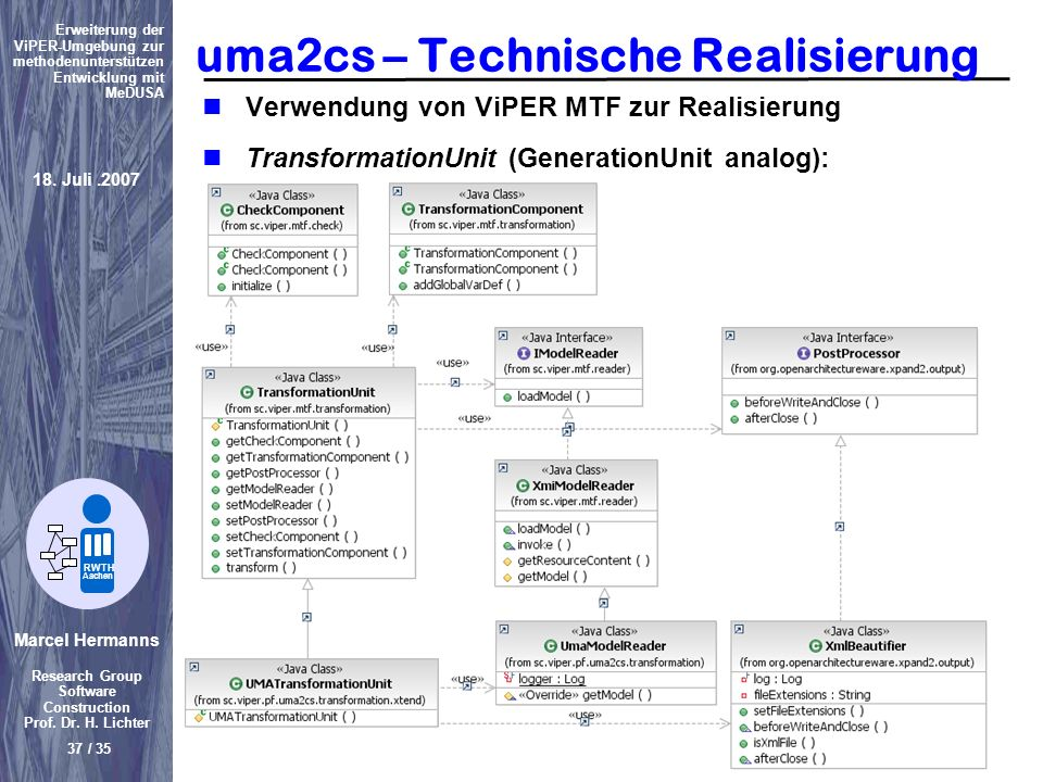 uma2cs – Technische Realisierung