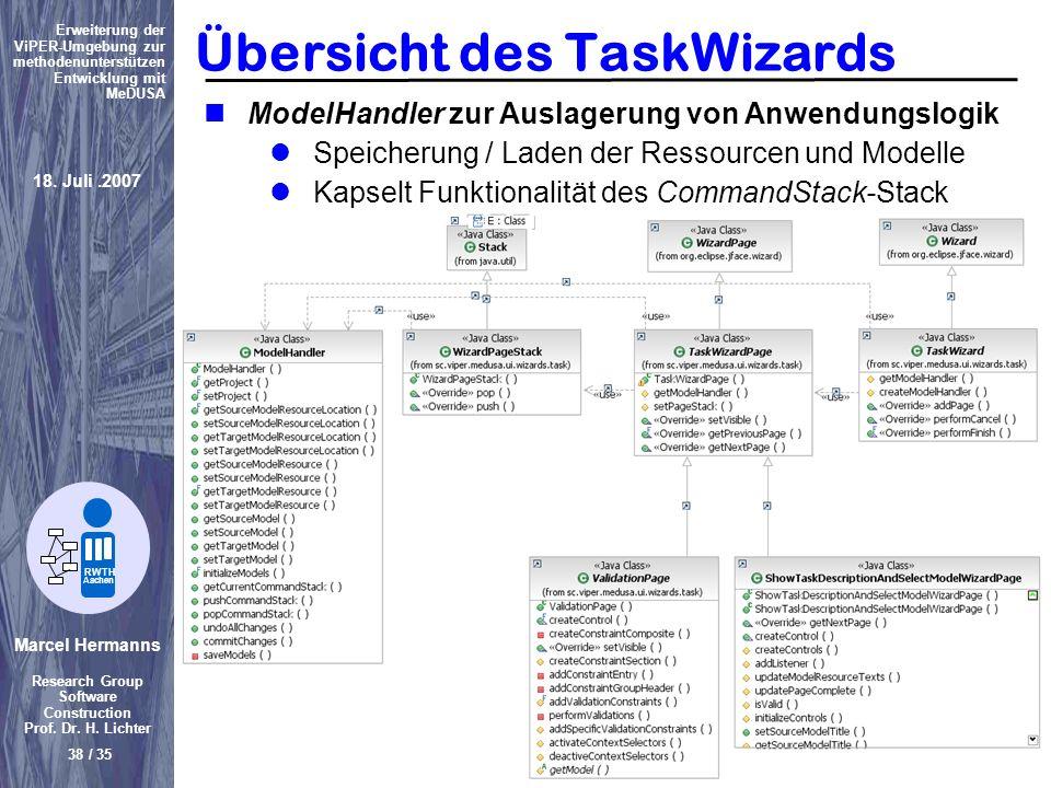 Übersicht des TaskWizards