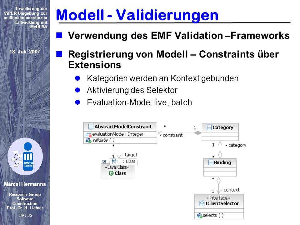 Modell - Validierungen