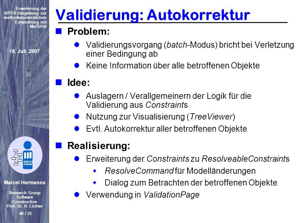 Validierung: Autokorrektur