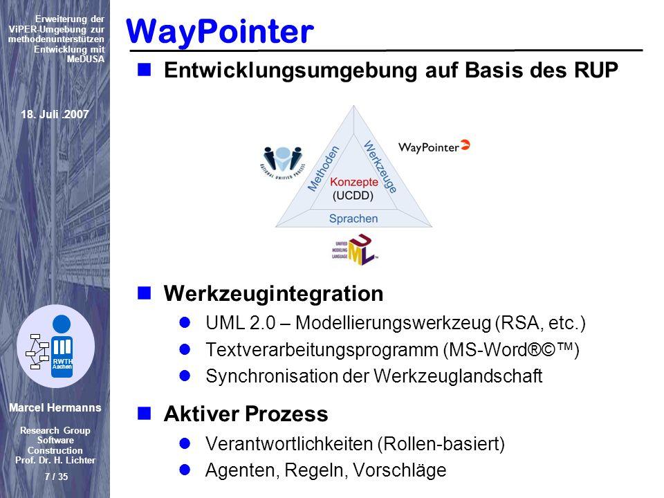 WayPointer Entwicklungsumgebung auf Basis des RUP Werkzeugintegration