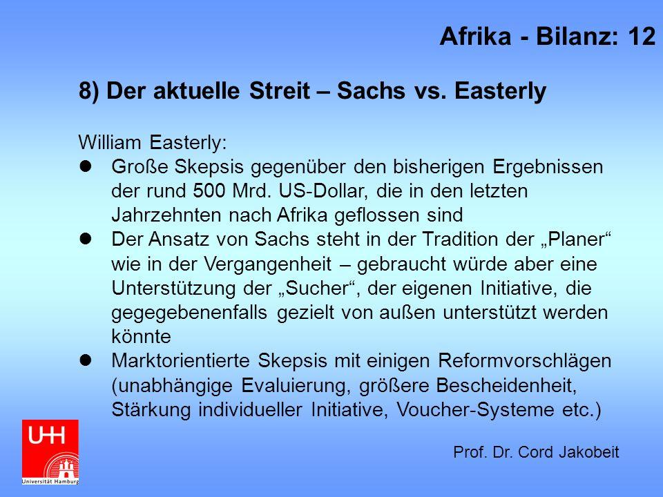 Afrika - Bilanz: 12 8) Der aktuelle Streit – Sachs vs. Easterly