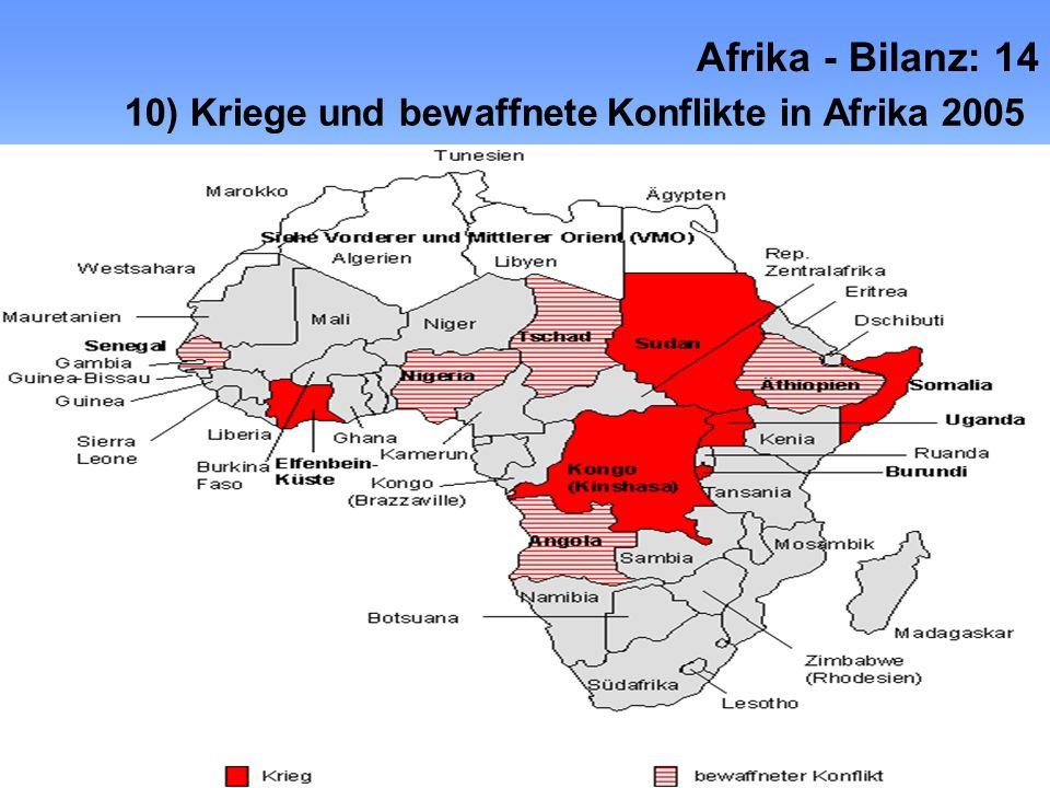 Afrika - Bilanz: 14 10) Kriege und bewaffnete Konflikte in Afrika 2005