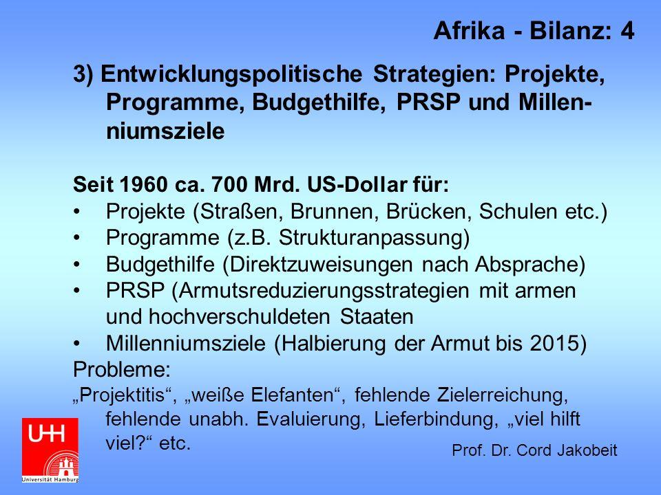 Afrika - Bilanz: 4 3) Entwicklungspolitische Strategien: Projekte, Programme, Budgethilfe, PRSP und Millen-niumsziele.