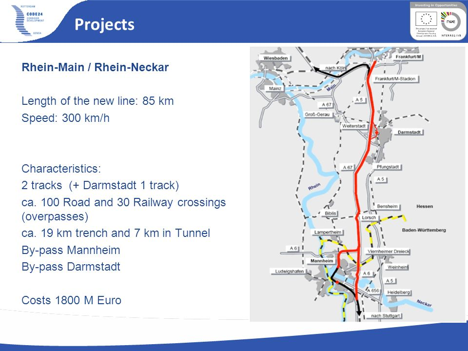 Projects Rhein-Main / Rhein-Neckar Length of the new line: 85 km