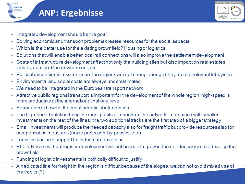 ANP: Ergebnisse Integrated development should be the goal