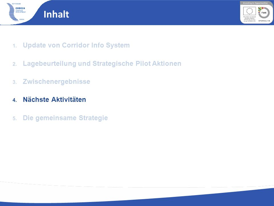 Inhalt Update von Corridor Info System
