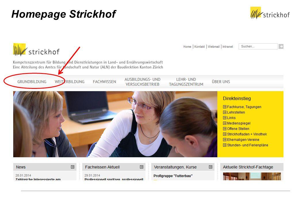 Homepage Strickhof üK-Zentrum Wädenswil: Klärung der unklaren Verantwortlichkeiten, Ziel Leistungsvereinbarung der Branche an Strickhof.