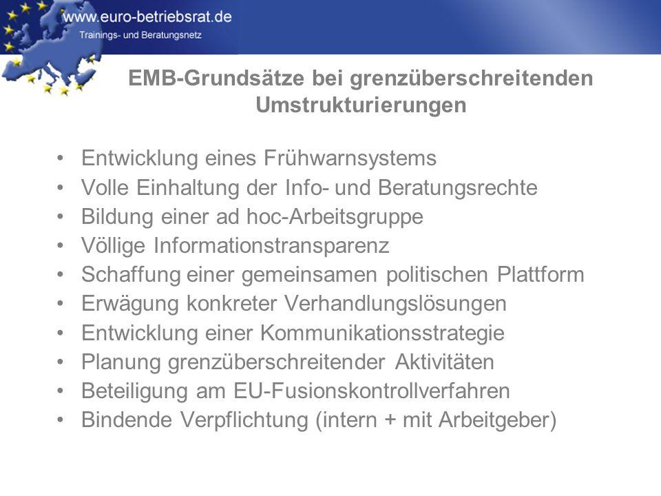 EMB-Grundsätze bei grenzüberschreitenden Umstrukturierungen