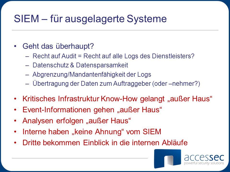 SIEM – für ausgelagerte Systeme