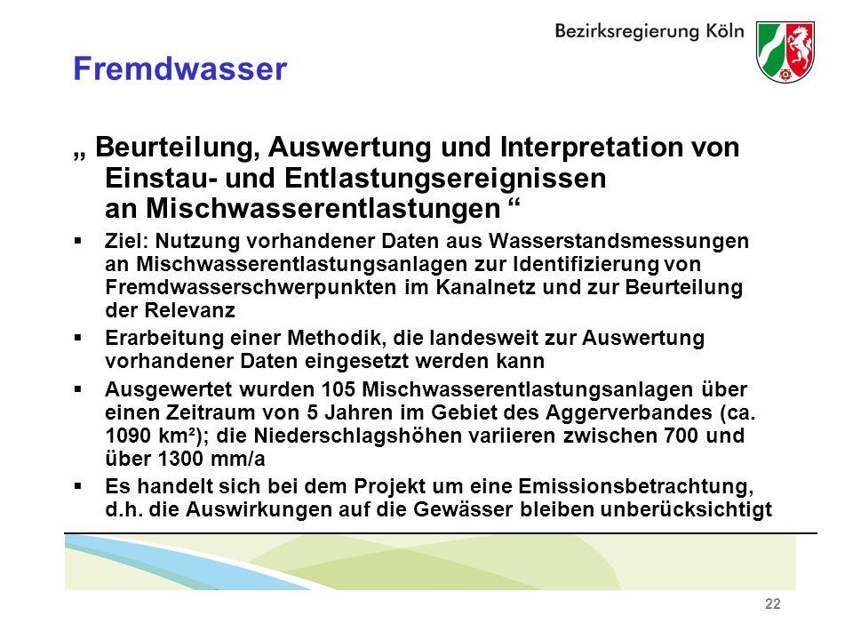 """Fremdwasser """" Beurteilung, Auswertung und Interpretation von Einstau- und Entlastungsereignissen an Mischwasserentlastungen"""