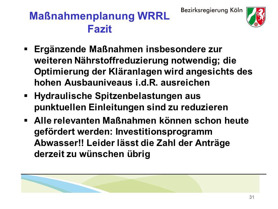 Maßnahmenplanung WRRL Fazit