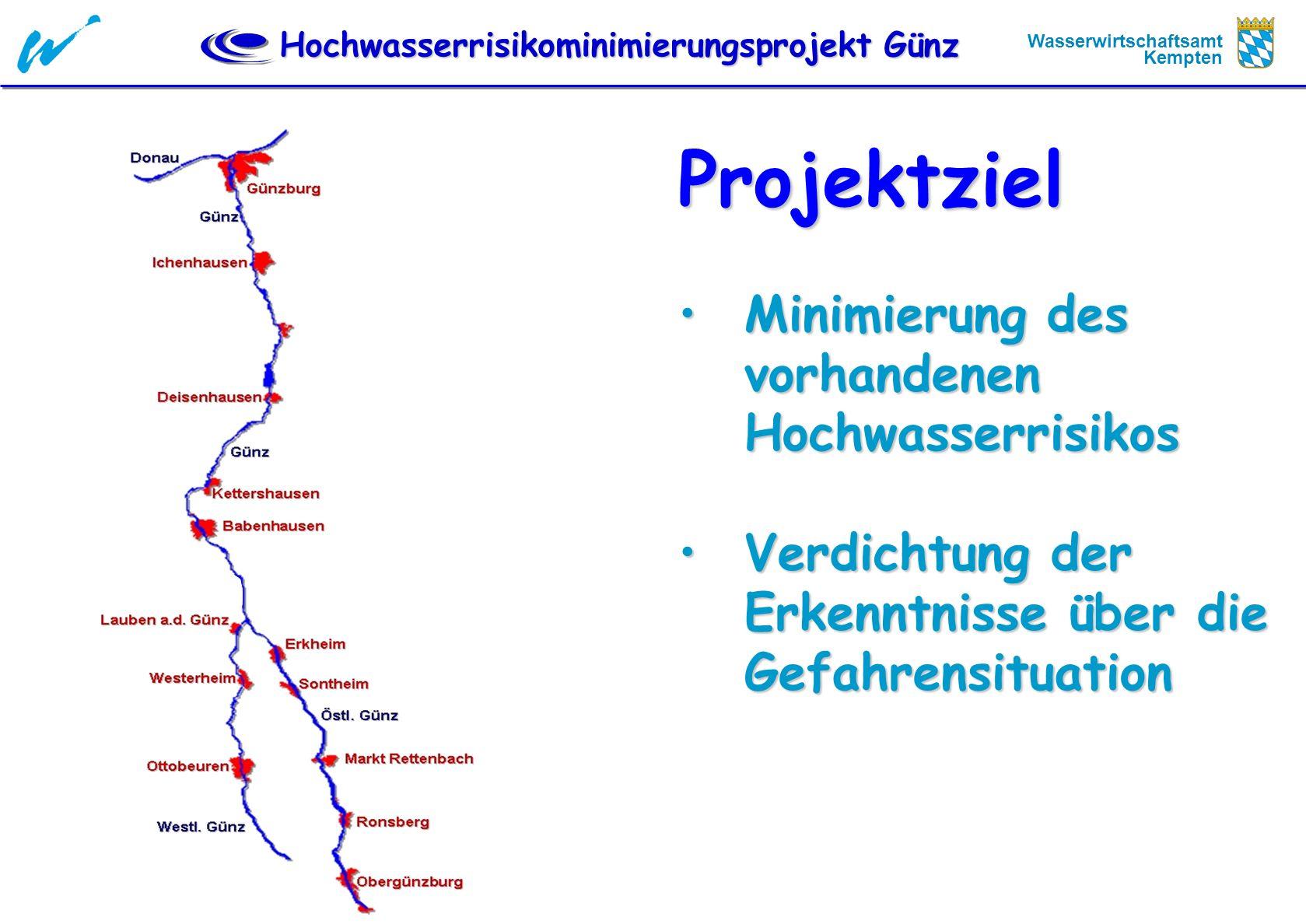 Projektziel Minimierung des vorhandenen Hochwasserrisikos