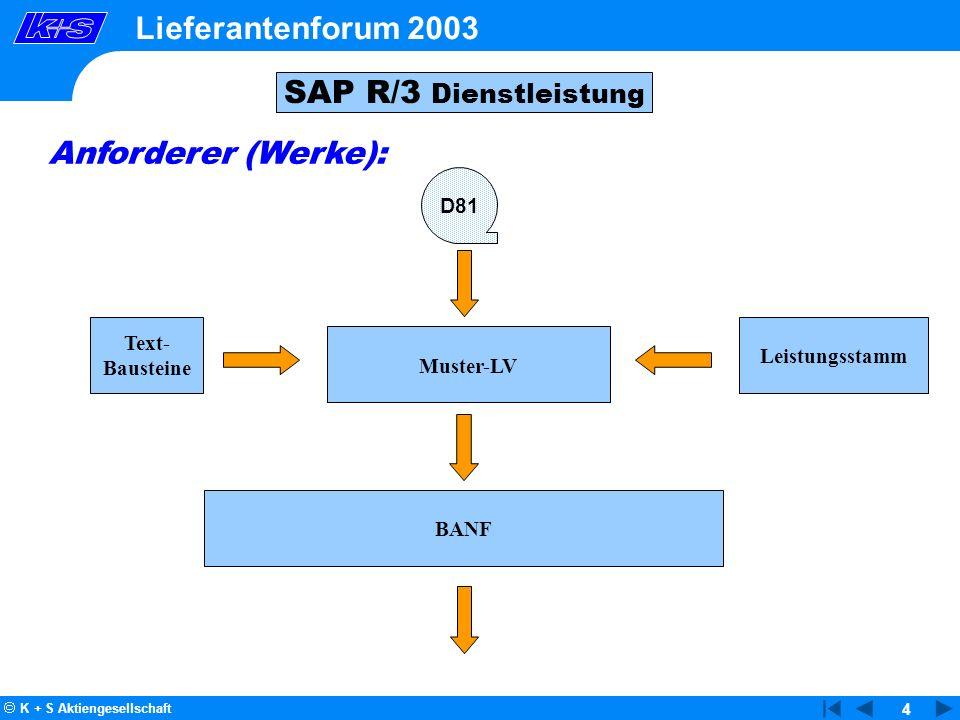 Lieferantenforum 2003 SAP R/3 Dienstleistung Anforderer (Werke): D81