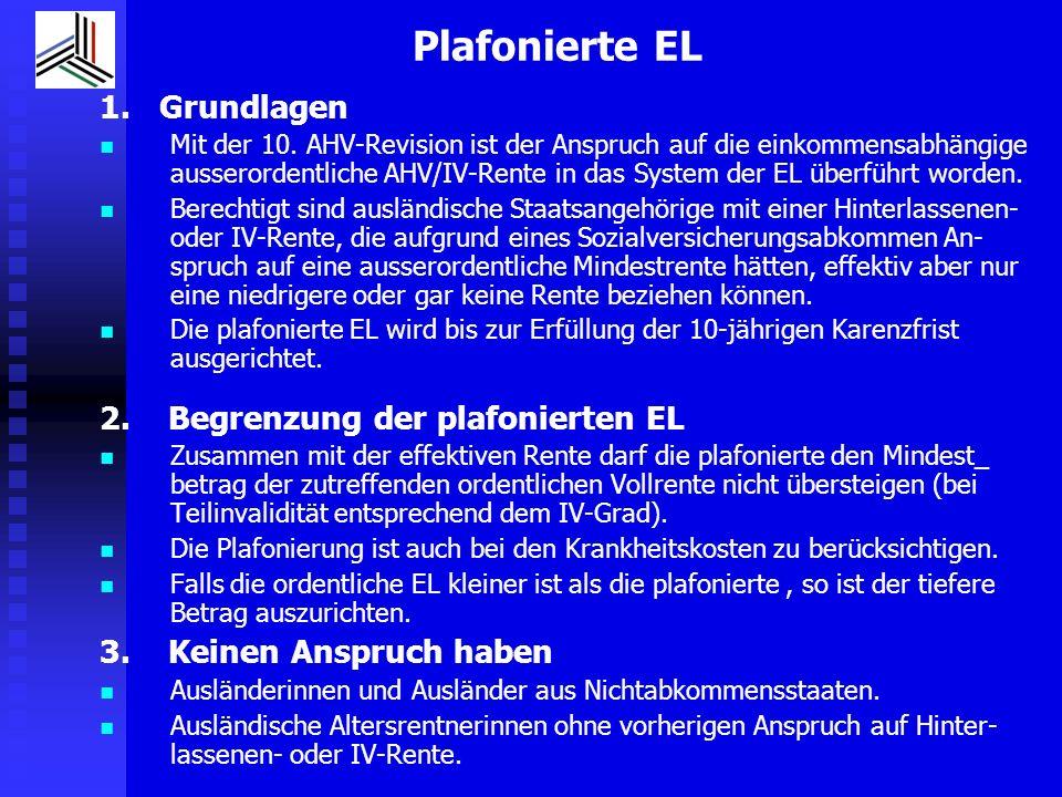 Plafonierte EL 1. Grundlagen 2. Begrenzung der plafonierten EL