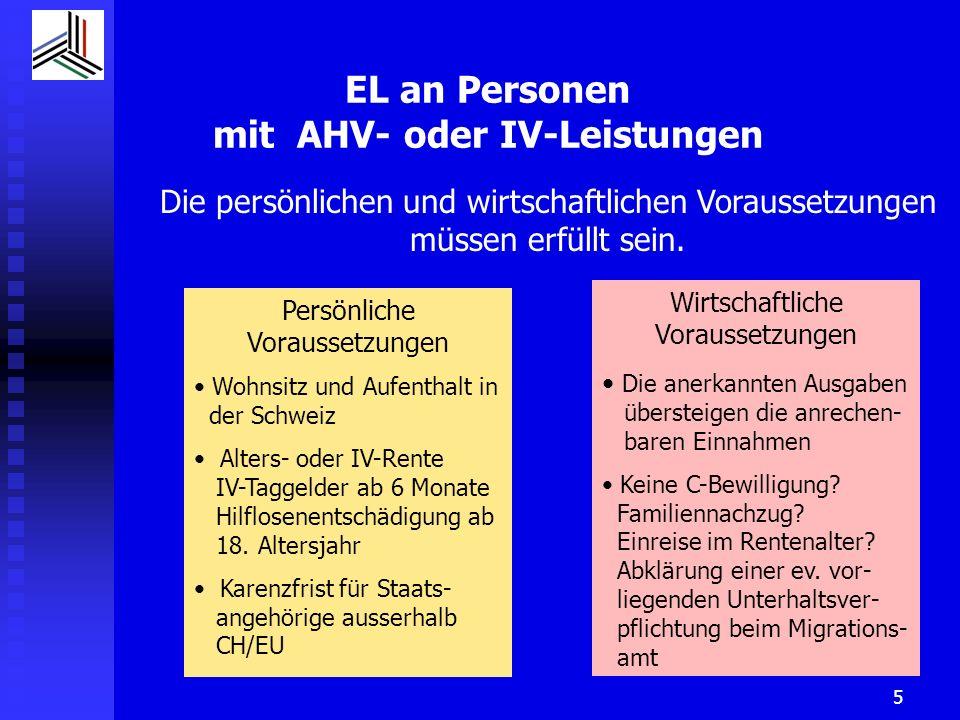 EL an Personen mit AHV- oder IV-Leistungen