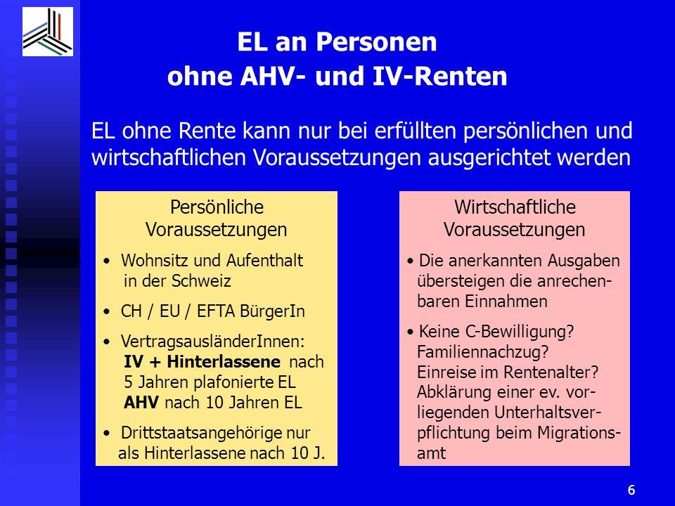 EL an Personen ohne AHV- und IV-Renten