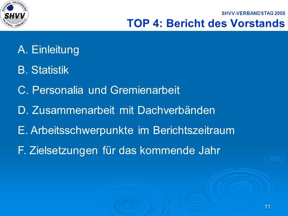 SHVV-VERBANDSTAG 2005 TOP 4: Bericht des Vorstands