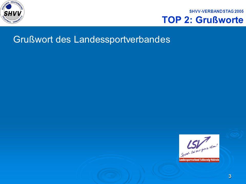 SHVV-VERBANDSTAG 2005 TOP 2: Grußworte