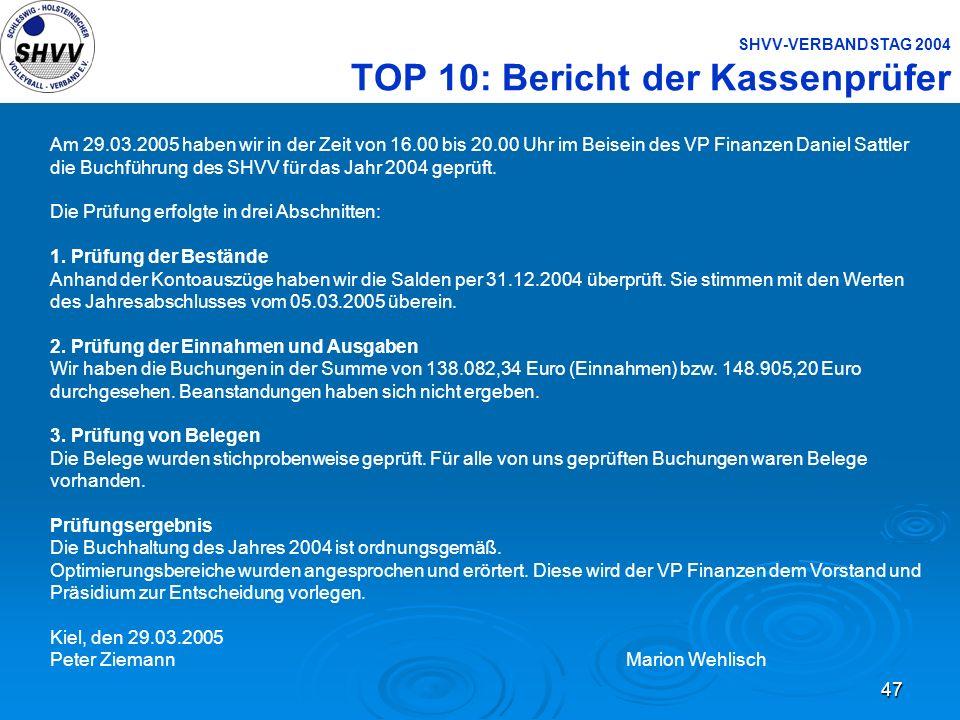 SHVV-VERBANDSTAG 2004 TOP 10: Bericht der Kassenprüfer