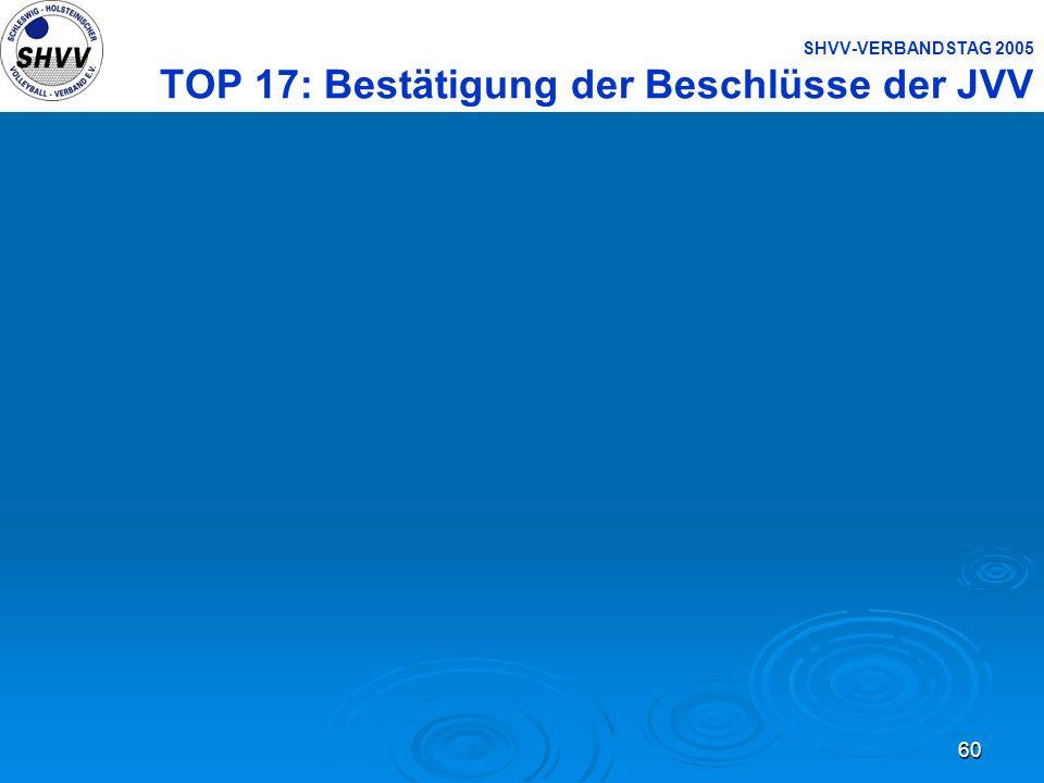 SHVV-VERBANDSTAG 2005 TOP 17: Bestätigung der Beschlüsse der JVV