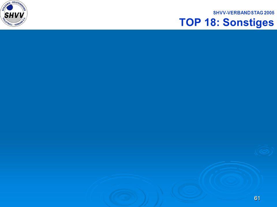 SHVV-VERBANDSTAG 2005 TOP 18: Sonstiges