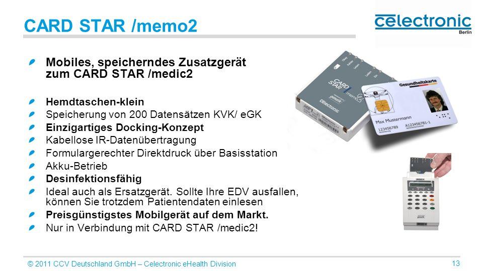 CARD STAR /memo2 Mobiles, speicherndes Zusatzgerät zum CARD STAR /medic2. Hemdtaschen-klein. Speicherung von 200 Datensätzen KVK/ eGK.