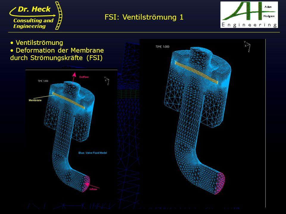 FSI: Ventilströmung 1 Dr. Heck Ventilströmung Deformation der Membrane