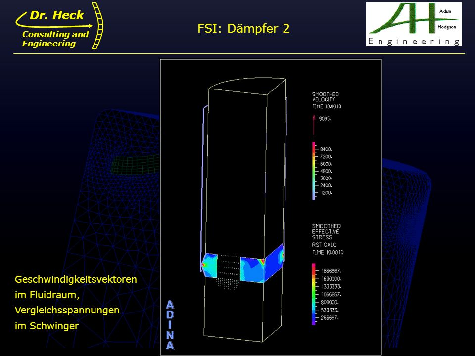 FSI: Dämpfer 2 Dr. Heck Geschwindigkeitsvektoren im Fluidraum,
