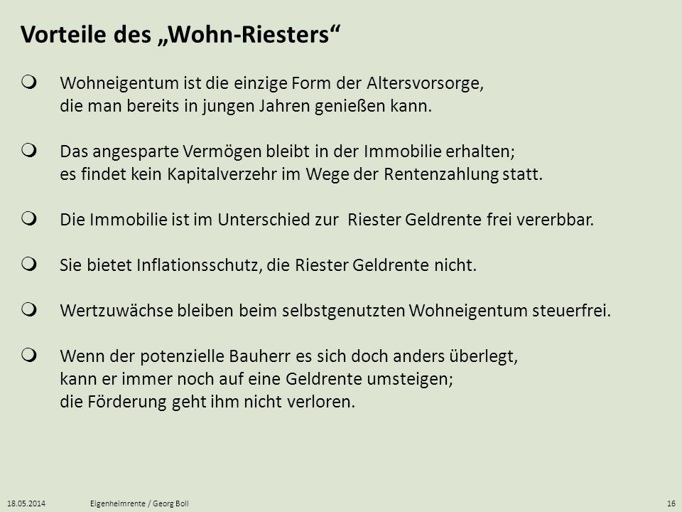 """Vorteile des """"Wohn-Riesters"""